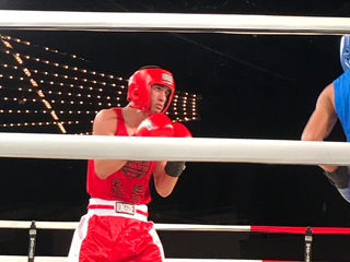 Steven Galeano, a CCNY sophomore majoring in AD/PR, in action in the 141-pound open final in the inaugural Ring Masters Championships at Madison Square Garden.