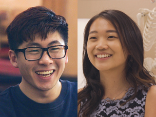 valedictorian Elizabeth Yim and salutatorian Kevin Zijian Jiang