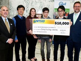 NYSID President & CEO Ron Romano Prof. Zhigang Zhu, Ms. Celina Cavalluzzi (Goodwill), two AVR4ASD team members (Rafael Li Chen and Xinyu Xiong), and NYSID Market Manager Brian Bateman