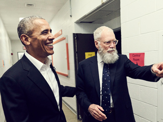 President Barack Obama and David Letterman at CCNY | Photo Credit: Netflix/Joe Pugliese