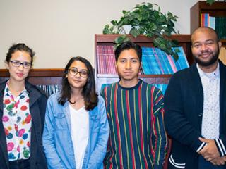 Four of CCNY's six 2018 Mellon Mays Fellows from left: Fiorella Garrido-Lecca, Kiran Baldeo, Abraham Arriaga and Kendrick Zapata.