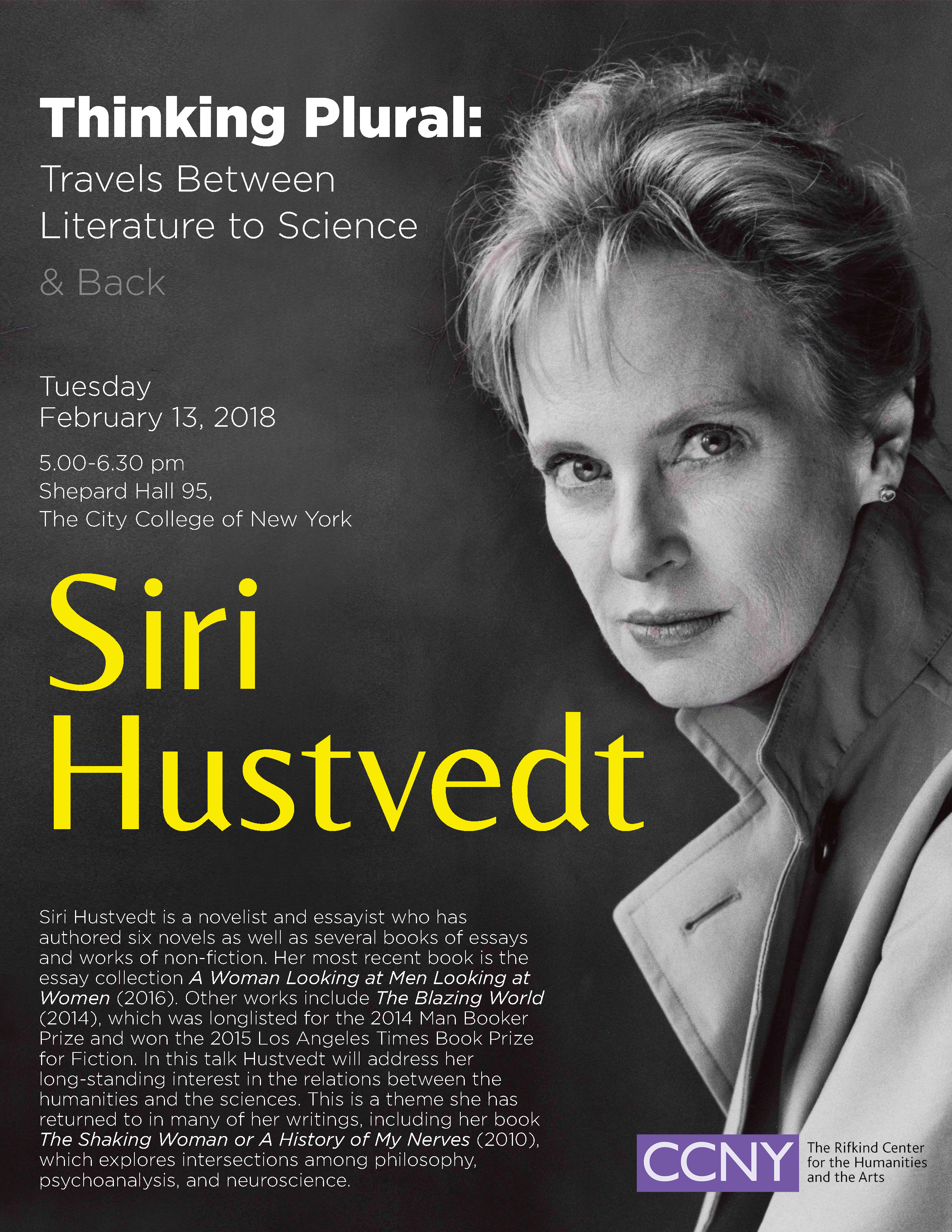 Promotion for Thinking Plural, a talk by Siri Hustvedt, Feb 13, 5-6:30 PM, SH-95