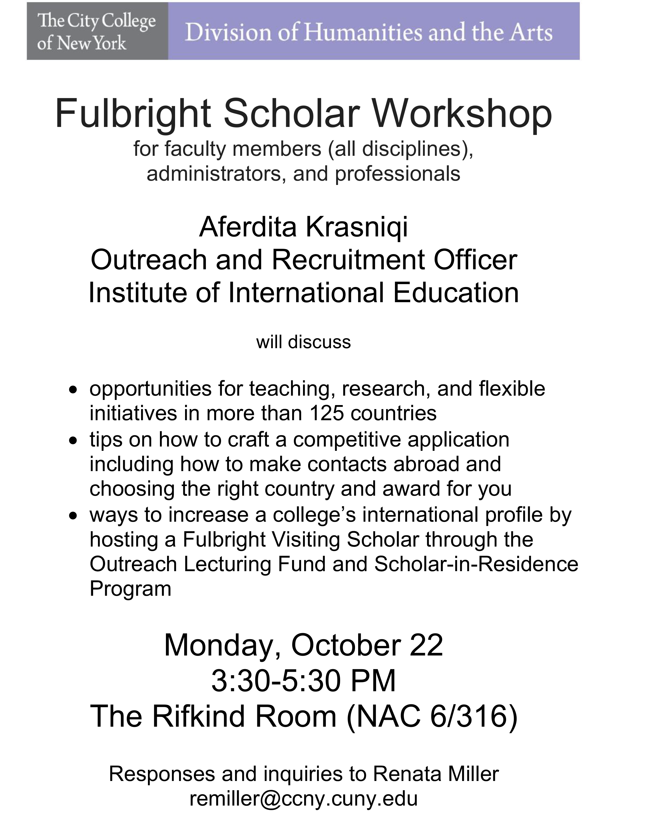 Fulbright Scholar Workshop for faculty members (all disciplines),  administrators, and professionals