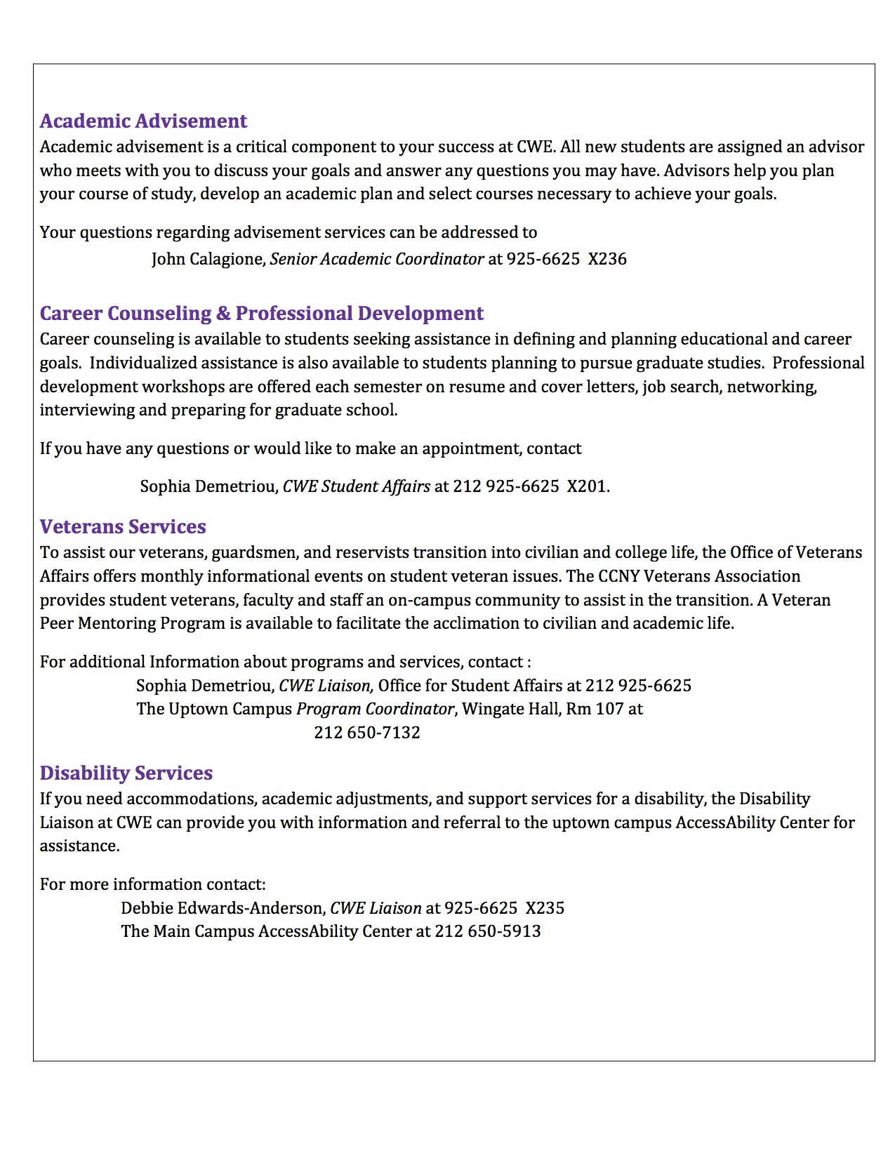 2 cwe student affairs guide the city for Cover letter for student affairs position