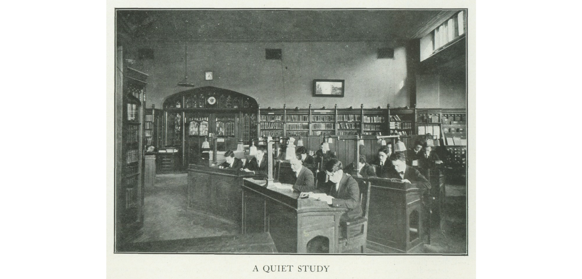 Historical photo of CCNY library quiet study room