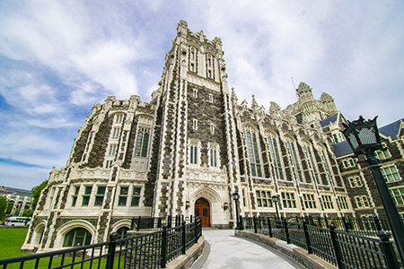 CCNY announces a $2.4 million gift to its Master's in Translational Medicine (MTM) program by Seymour and Pearl Moskowitz. A photo of CCNY's Shepard Hall is seen in the photo.