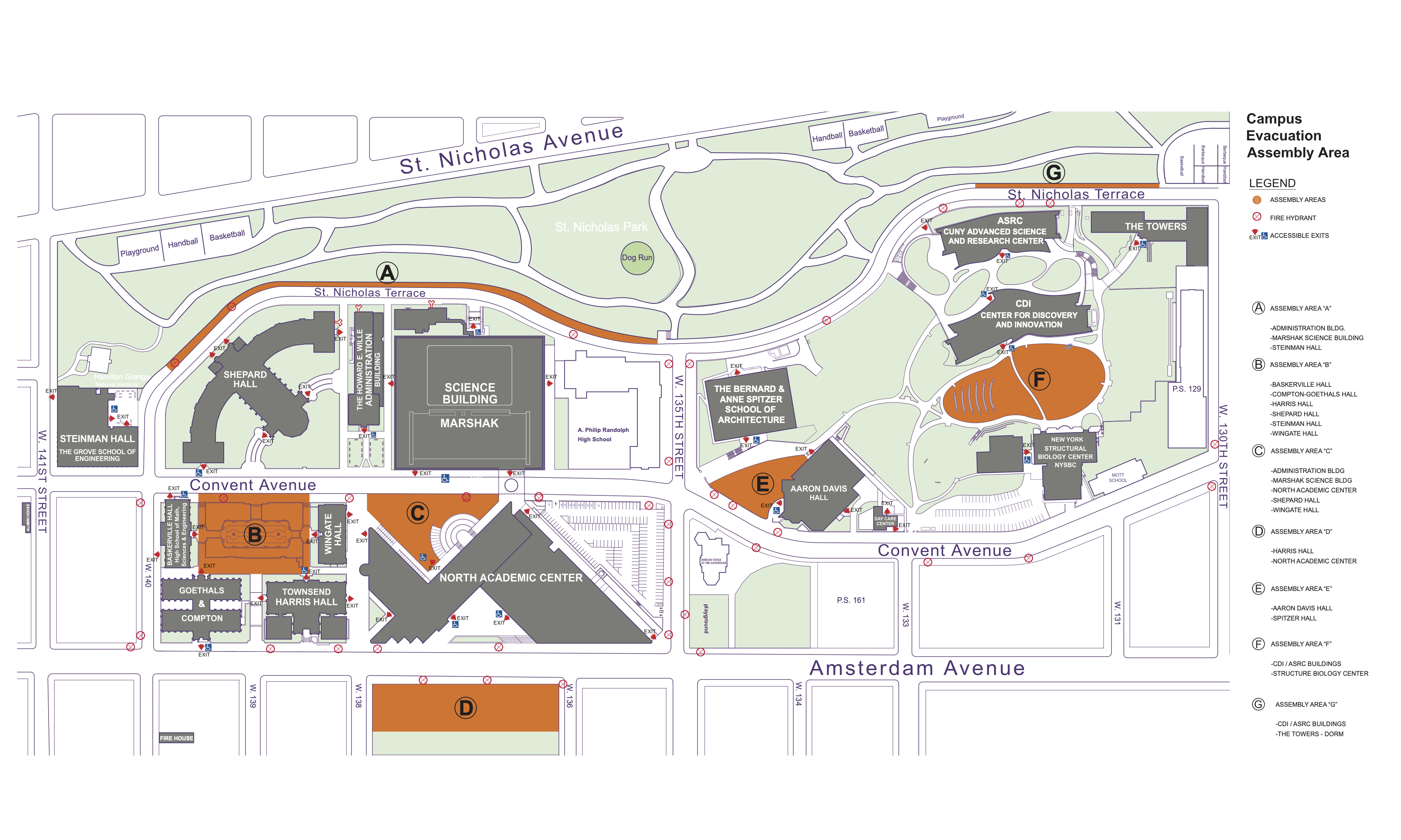 Campus Map - Assembly Areas - Complete Campus