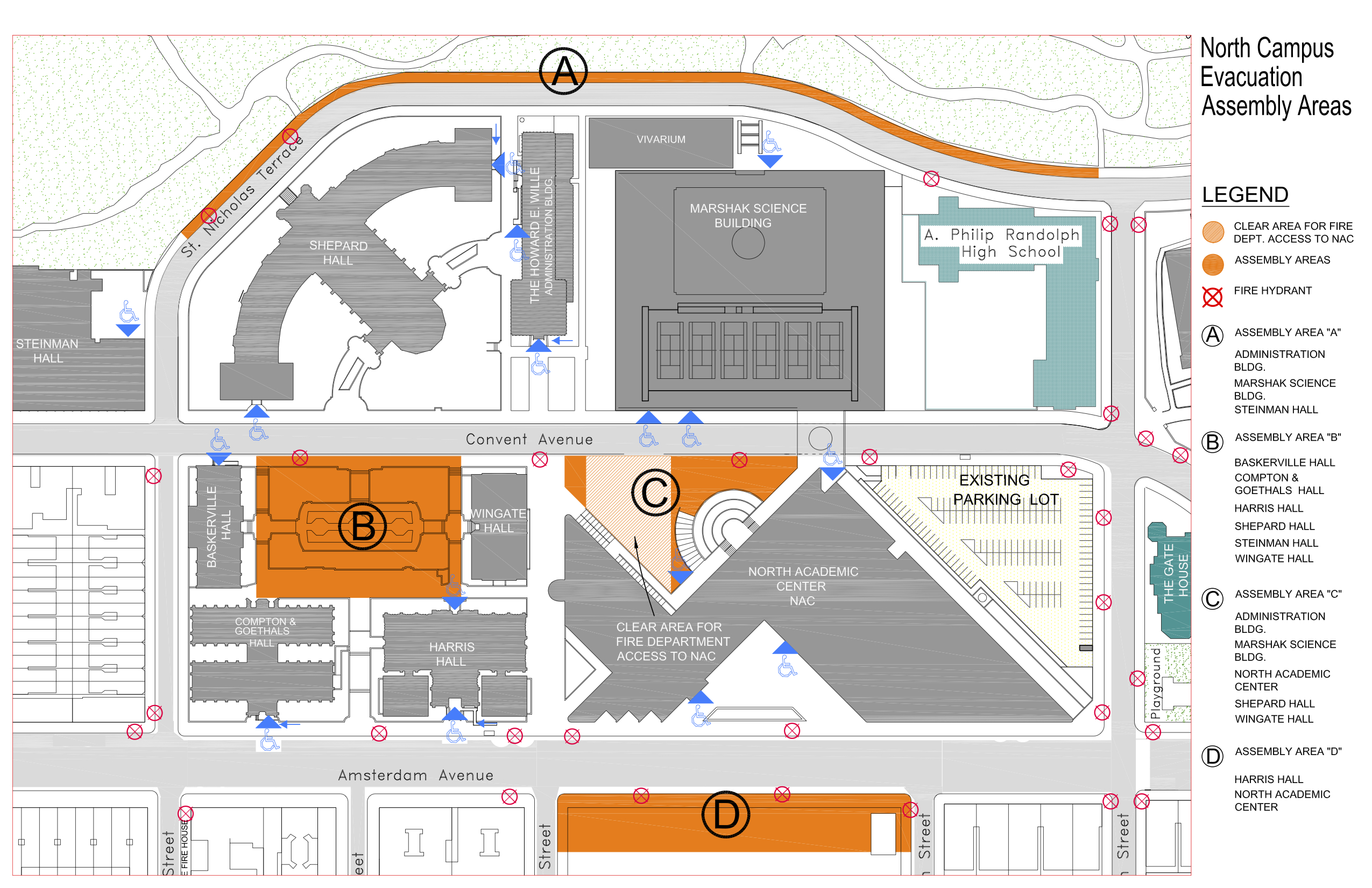 Campus Map - Assembly Areas - North Campus