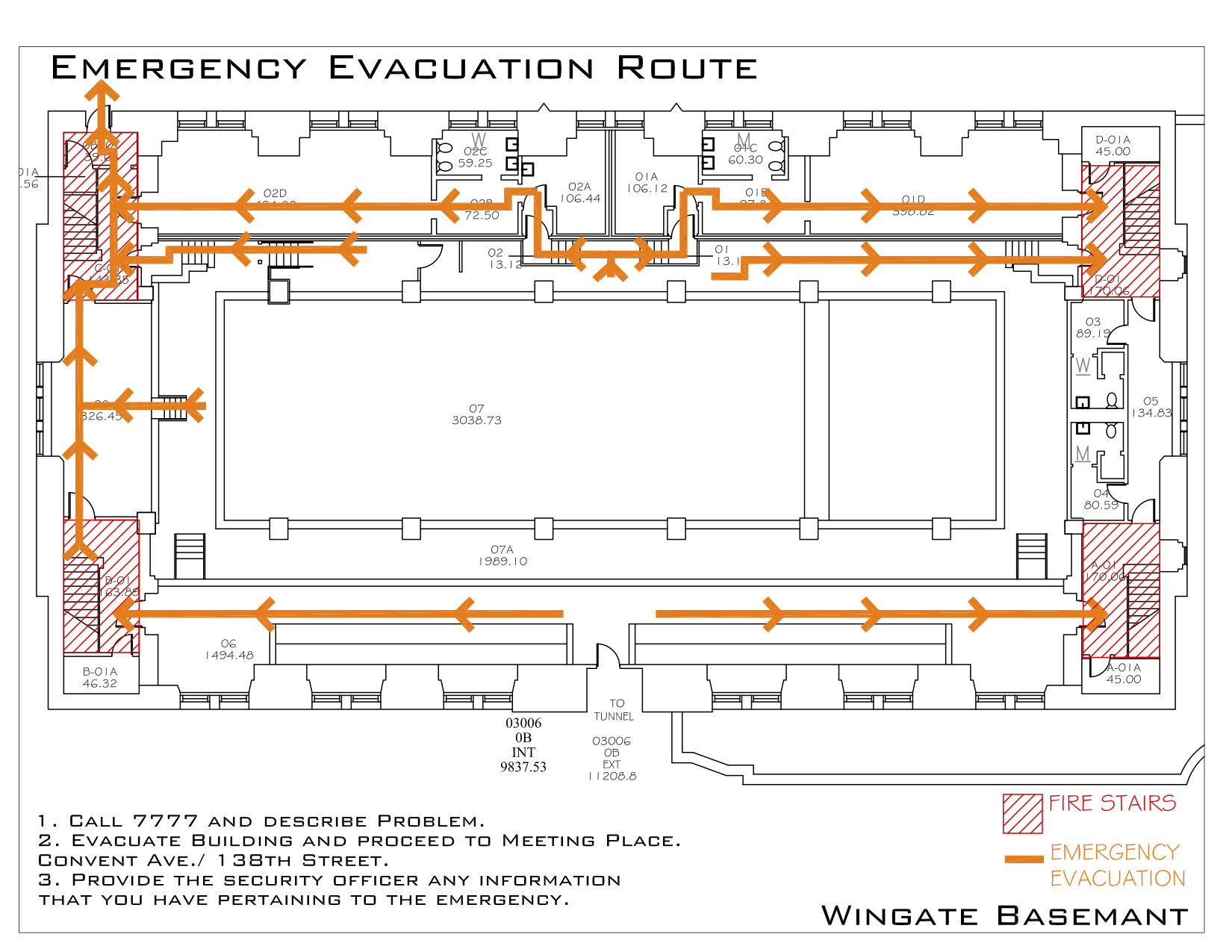 Wingate Hall - Evacuation Route 1