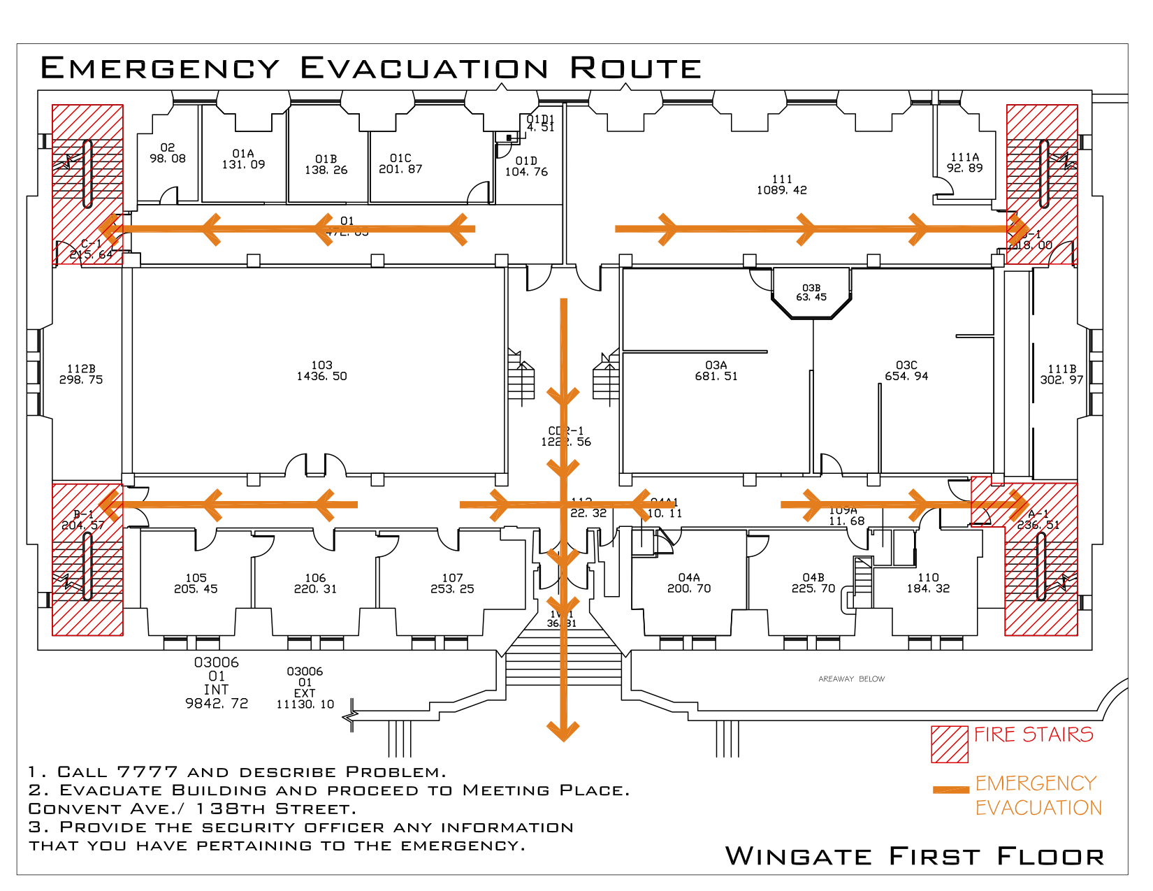 Wingate Hall - Evacuation Route 2
