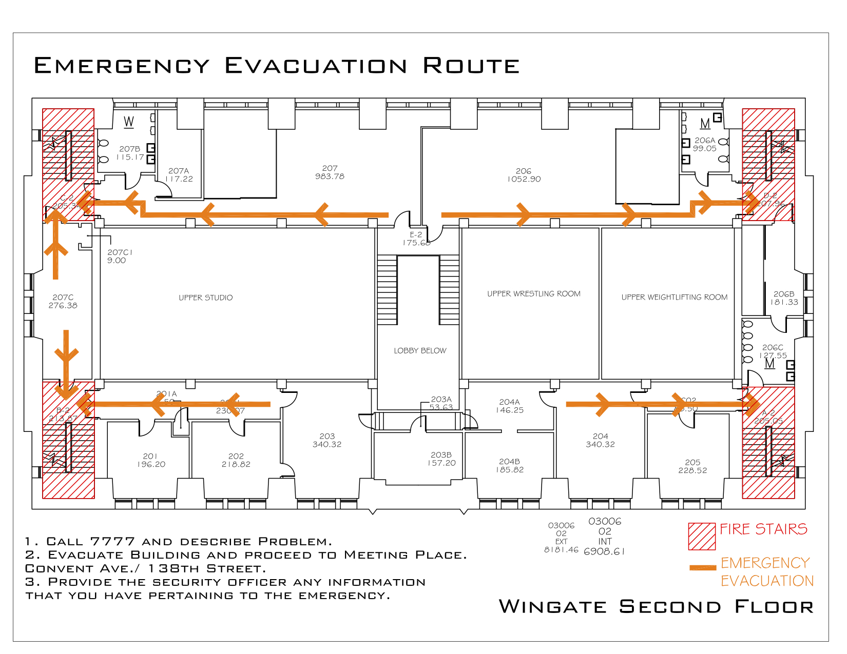 Wingate Hall - Evacuation Route 3