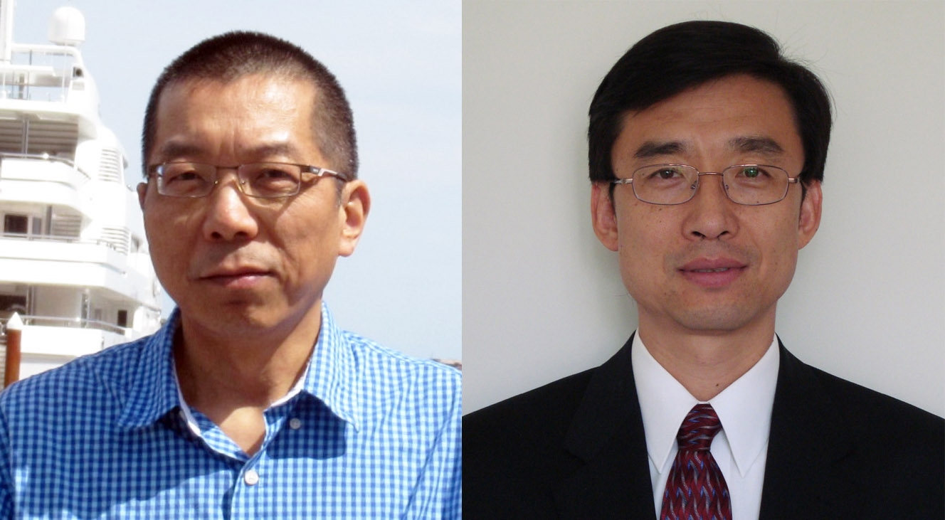 Computer Science faculty Jie Wei [left] and Zhigang Zhu