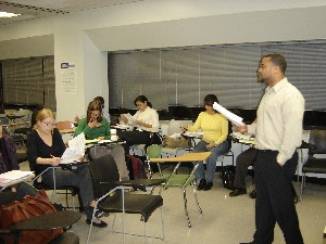 Professor reading in classroom
