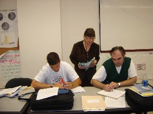 Professor observing students write