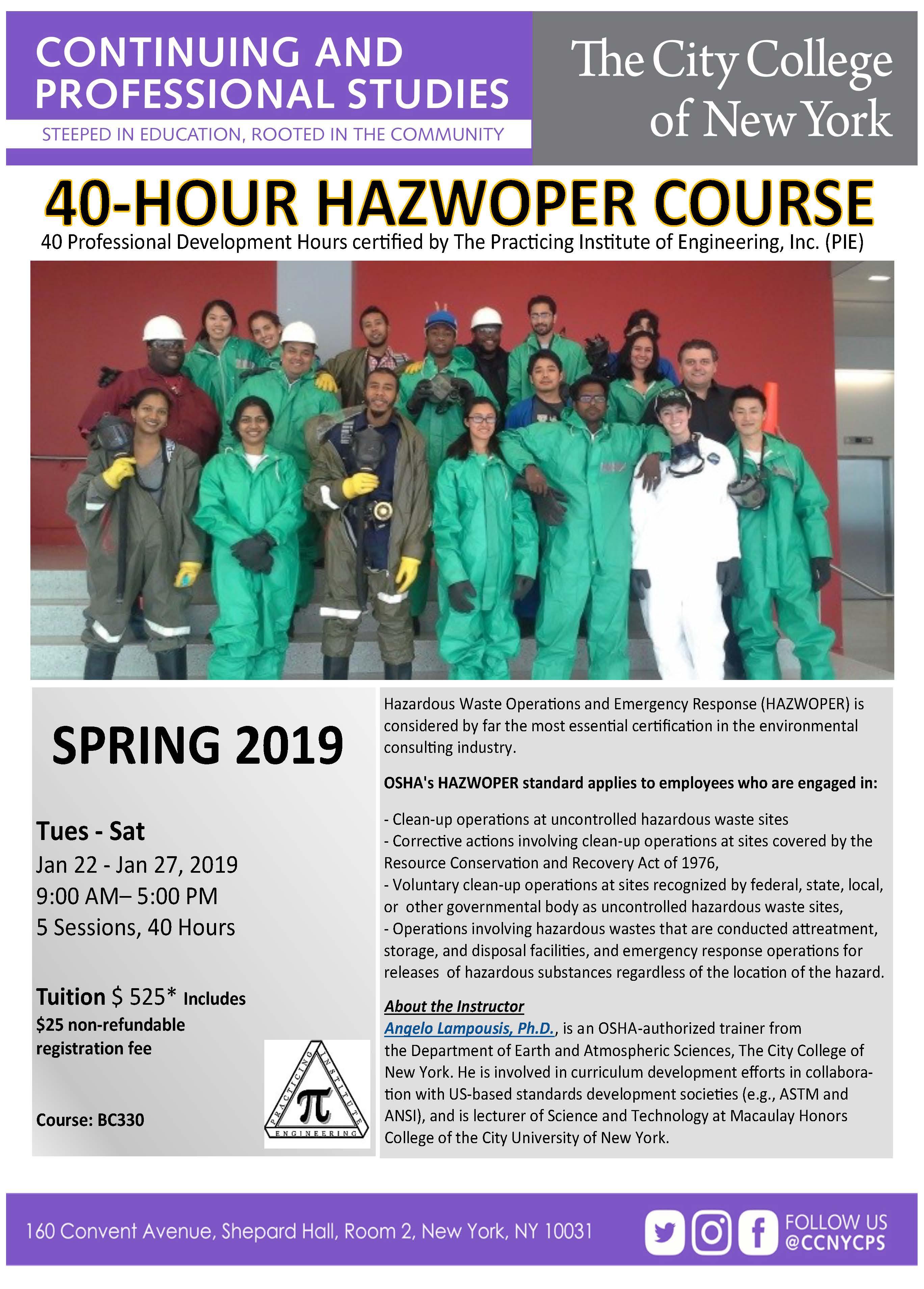 40 Hour HAZWOPER Spring 2019