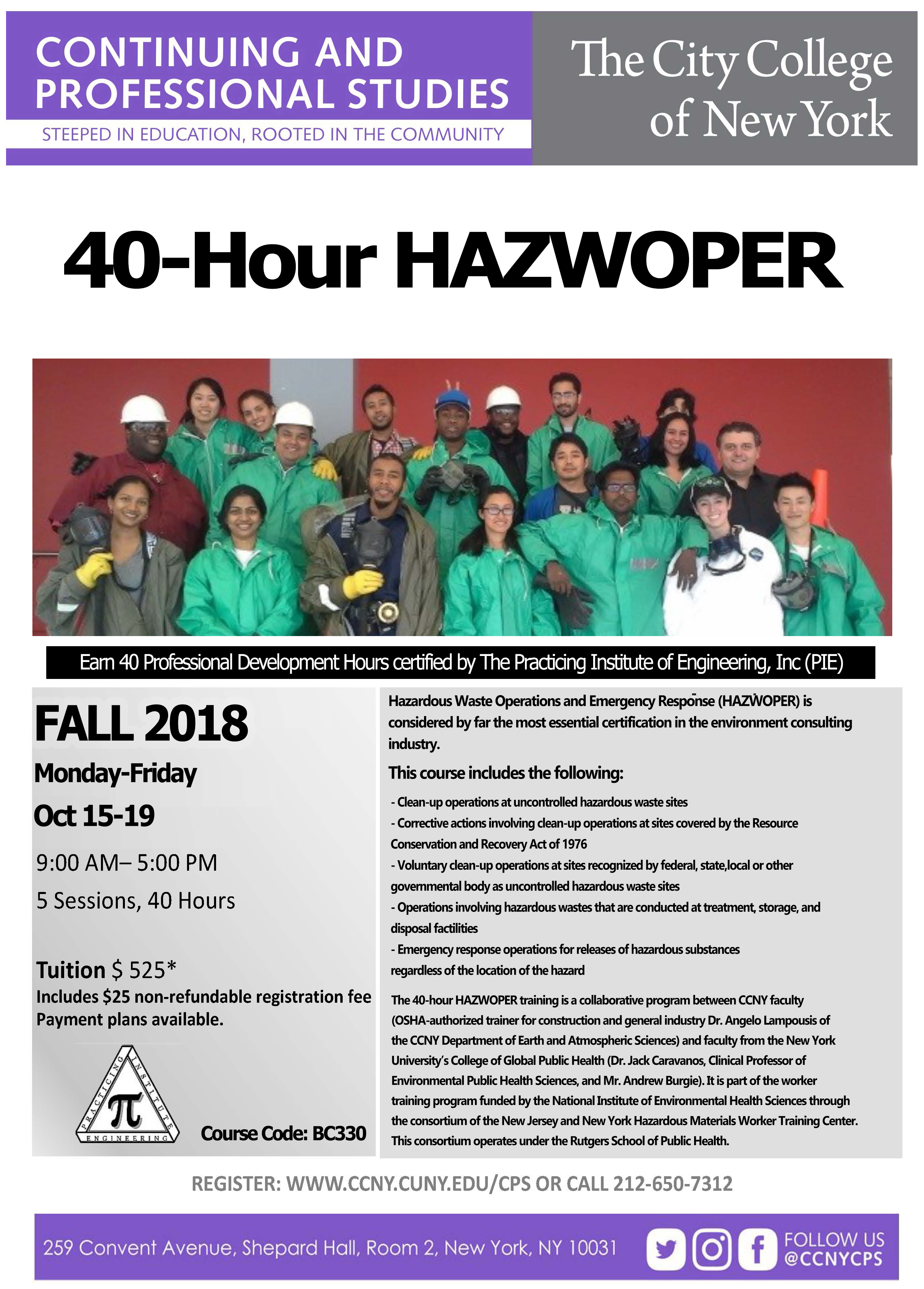 40 Hour HAZWOPER Fall 2018