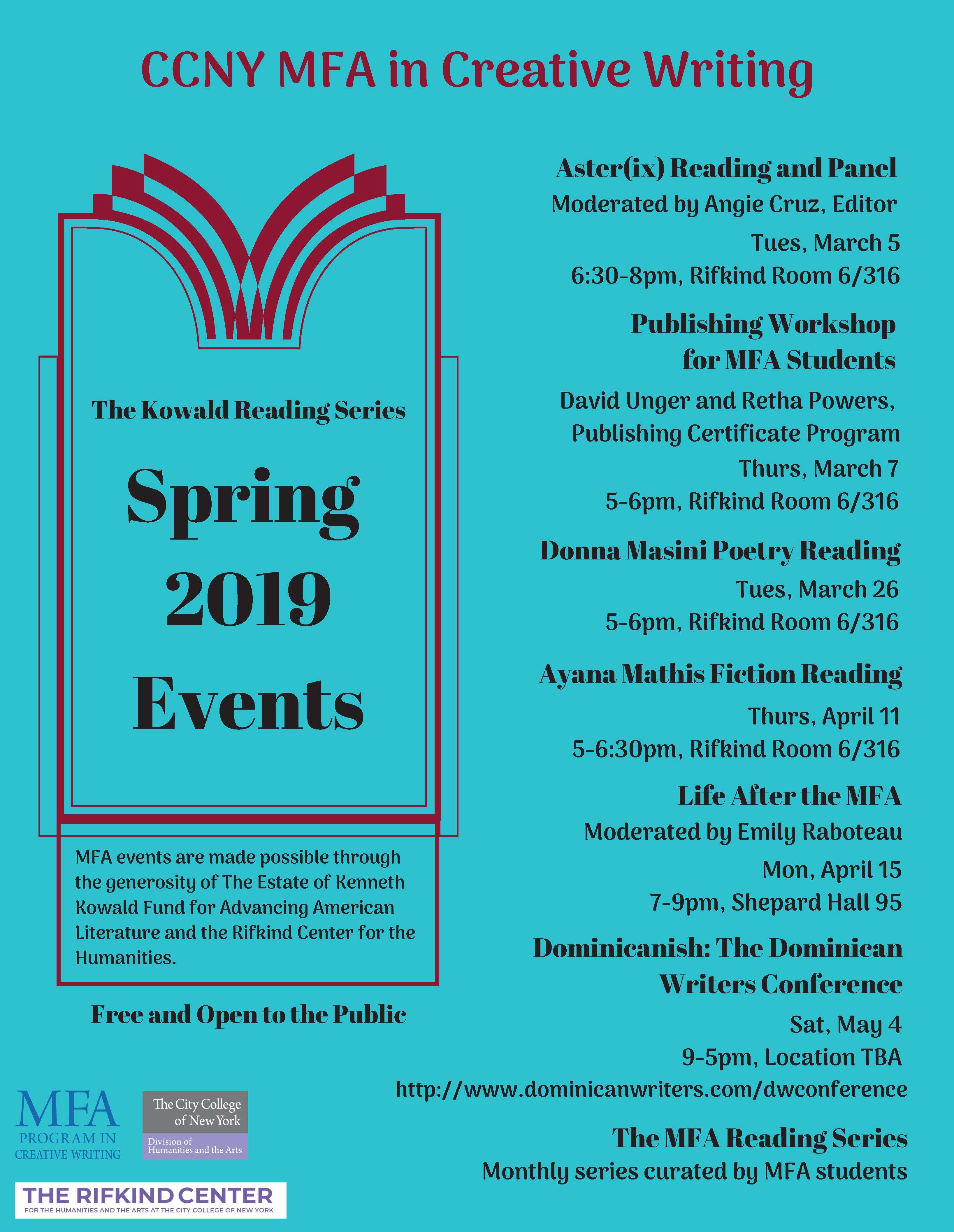 Spring 2019 Calendar of Events