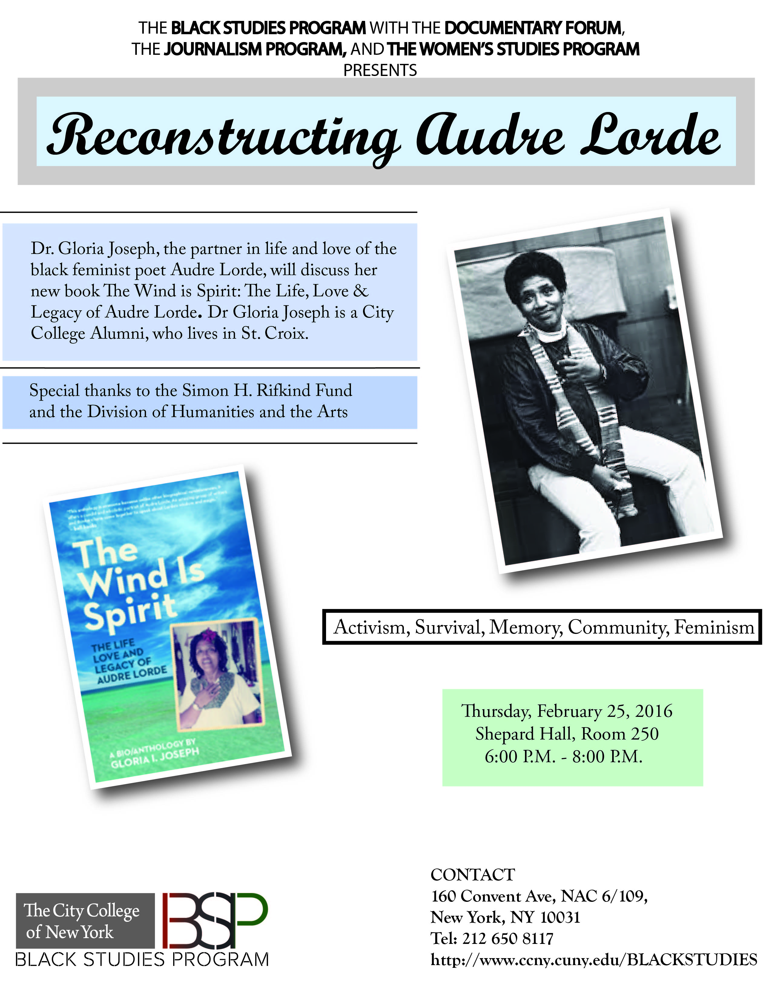 """RECONSTRUCTING AUDRE LORDE - FEBURARY 25, 2016. From the Book """" the Wind is the Spirit."""""""