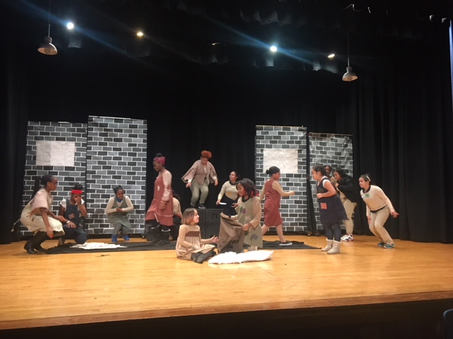 PS 161 drama club students rehearsing for Annie Jr.