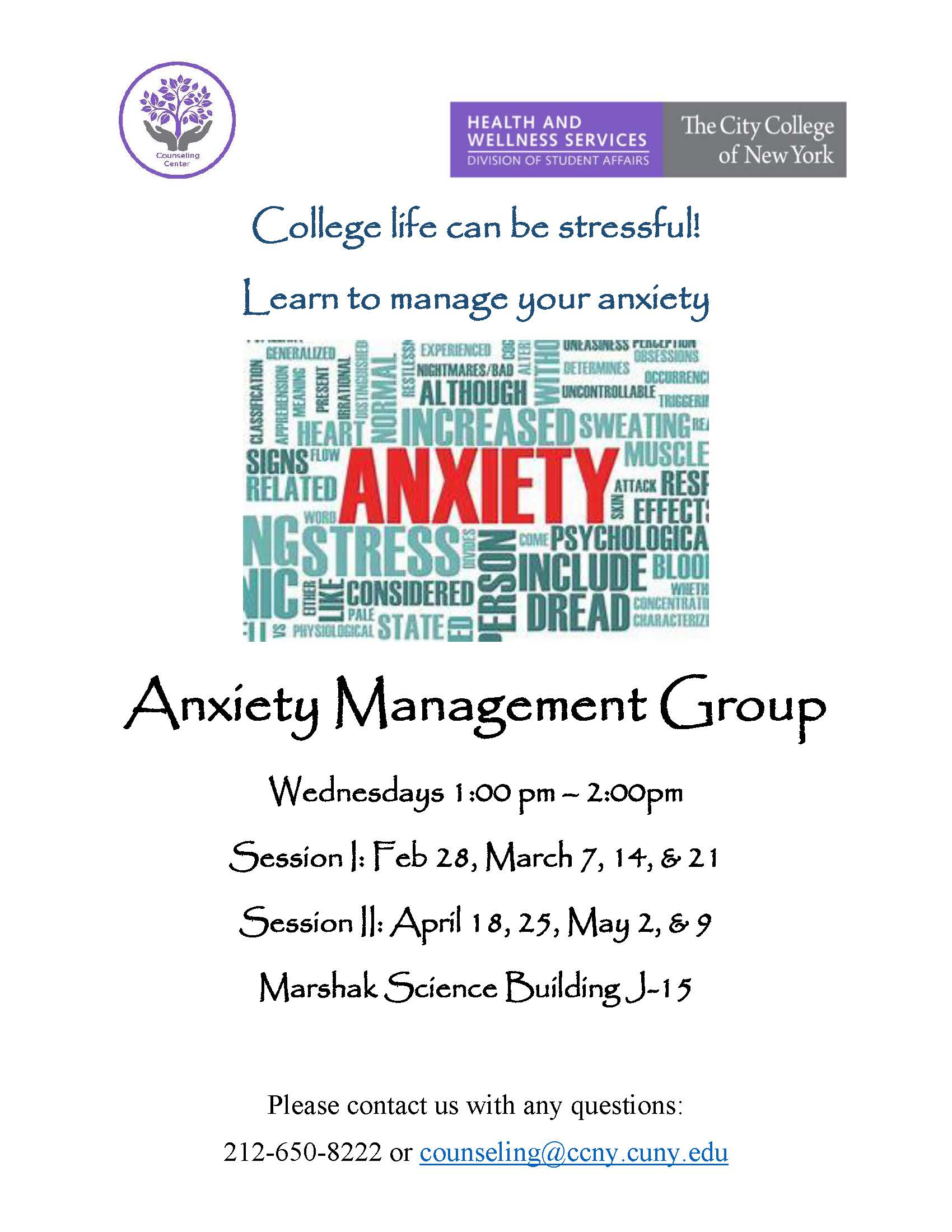 Anxiety Management Group Flyer - Spring 2018
