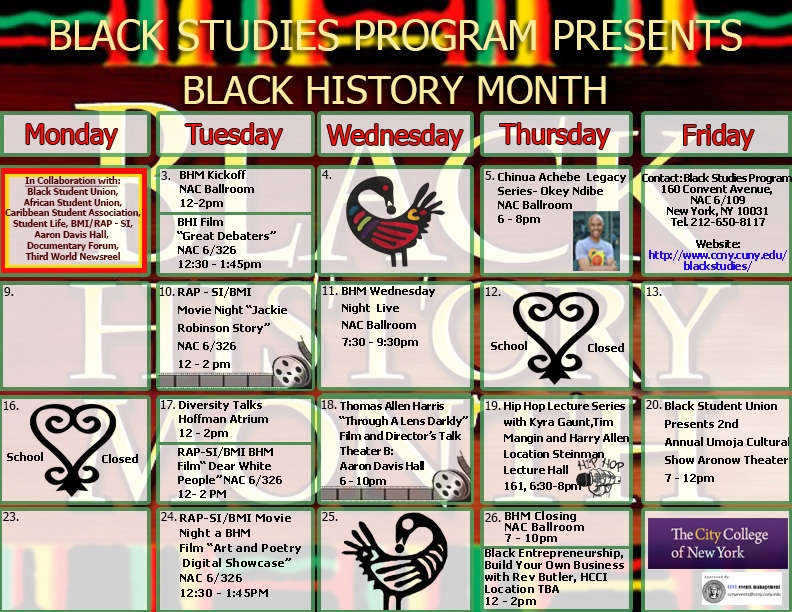 the 2015 Black History month calendar.