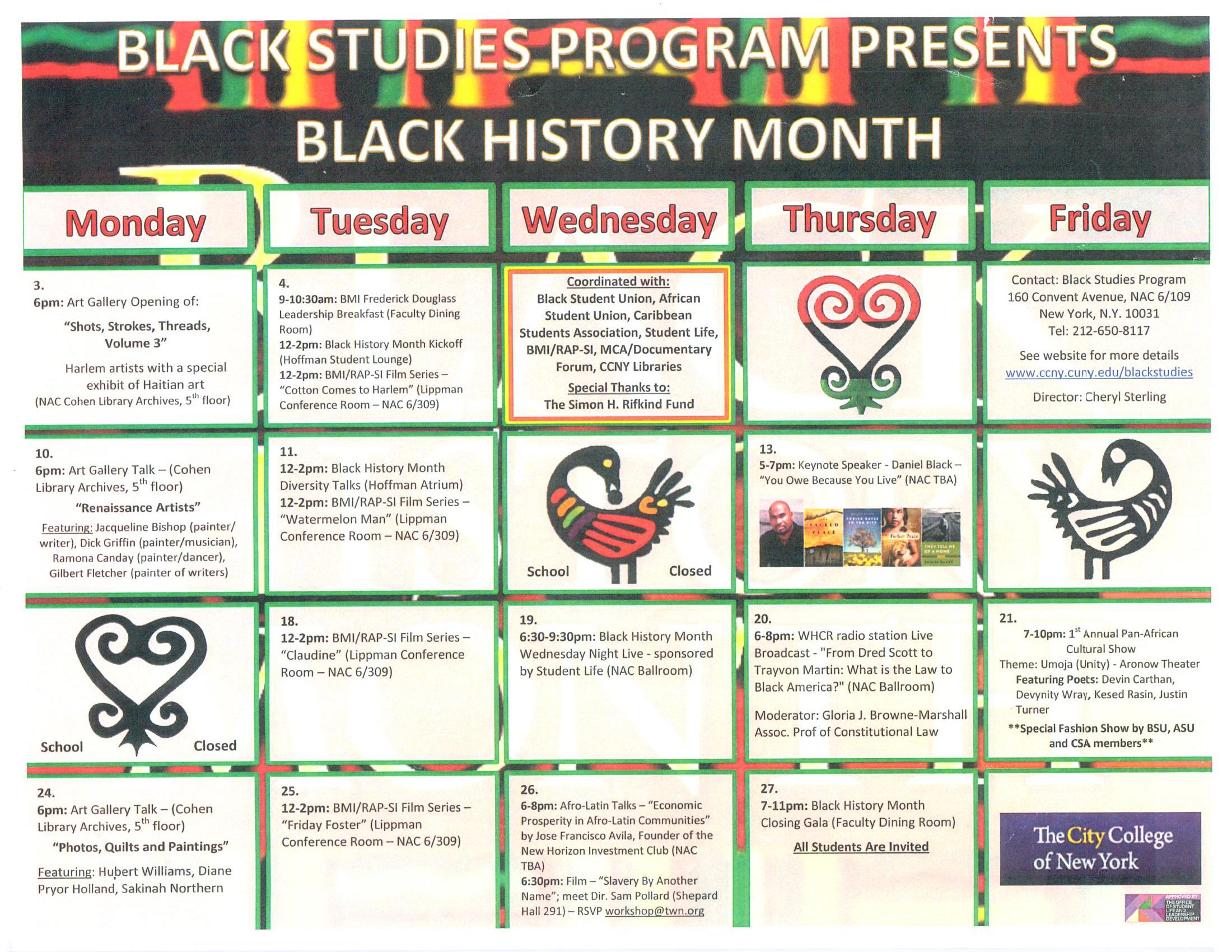 the 2014 Black History month calendar.