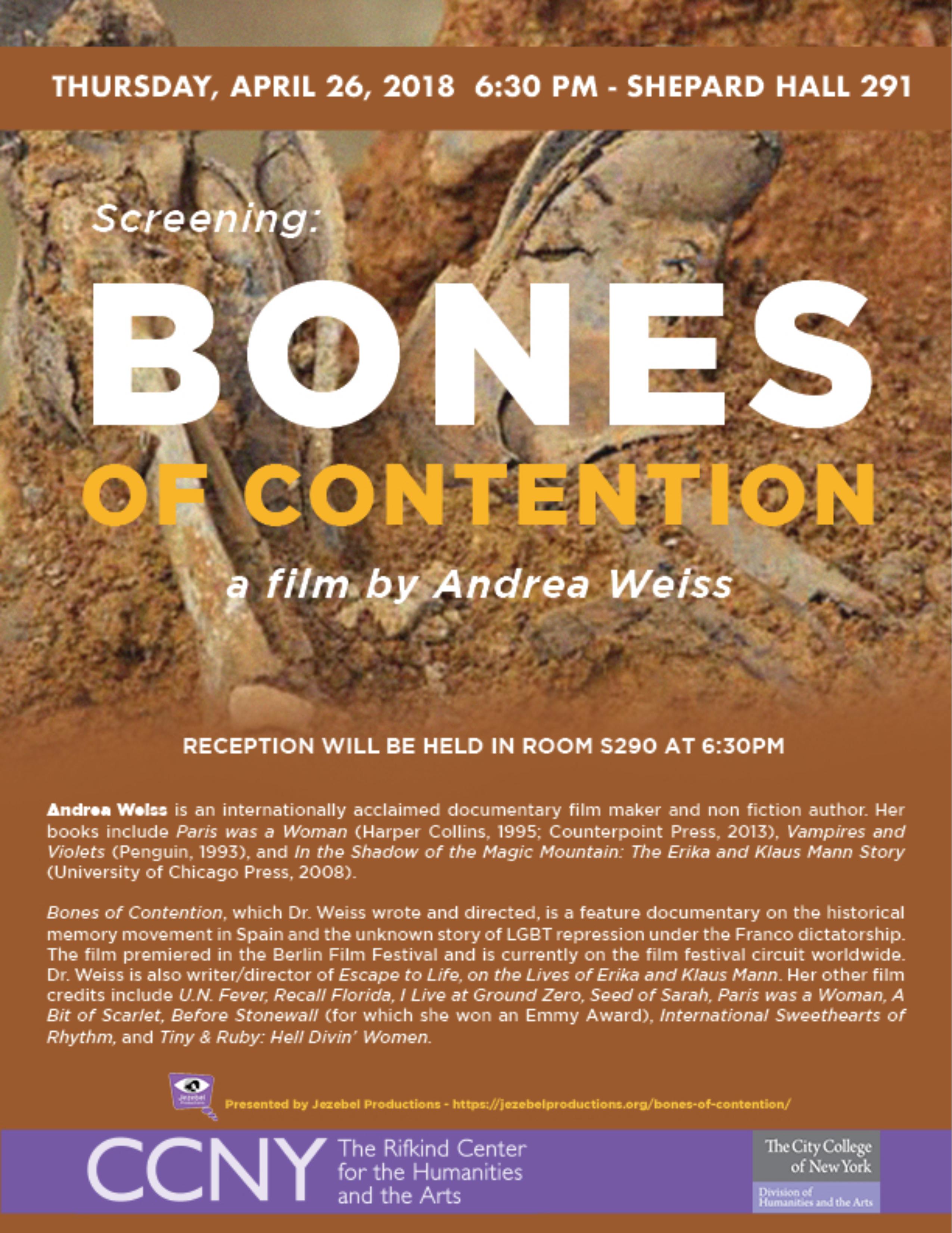 Bones of Contention Screening - April 26, 2018