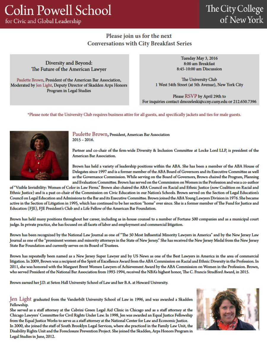 Conversations with City Breakfast Series with Paulette Brown