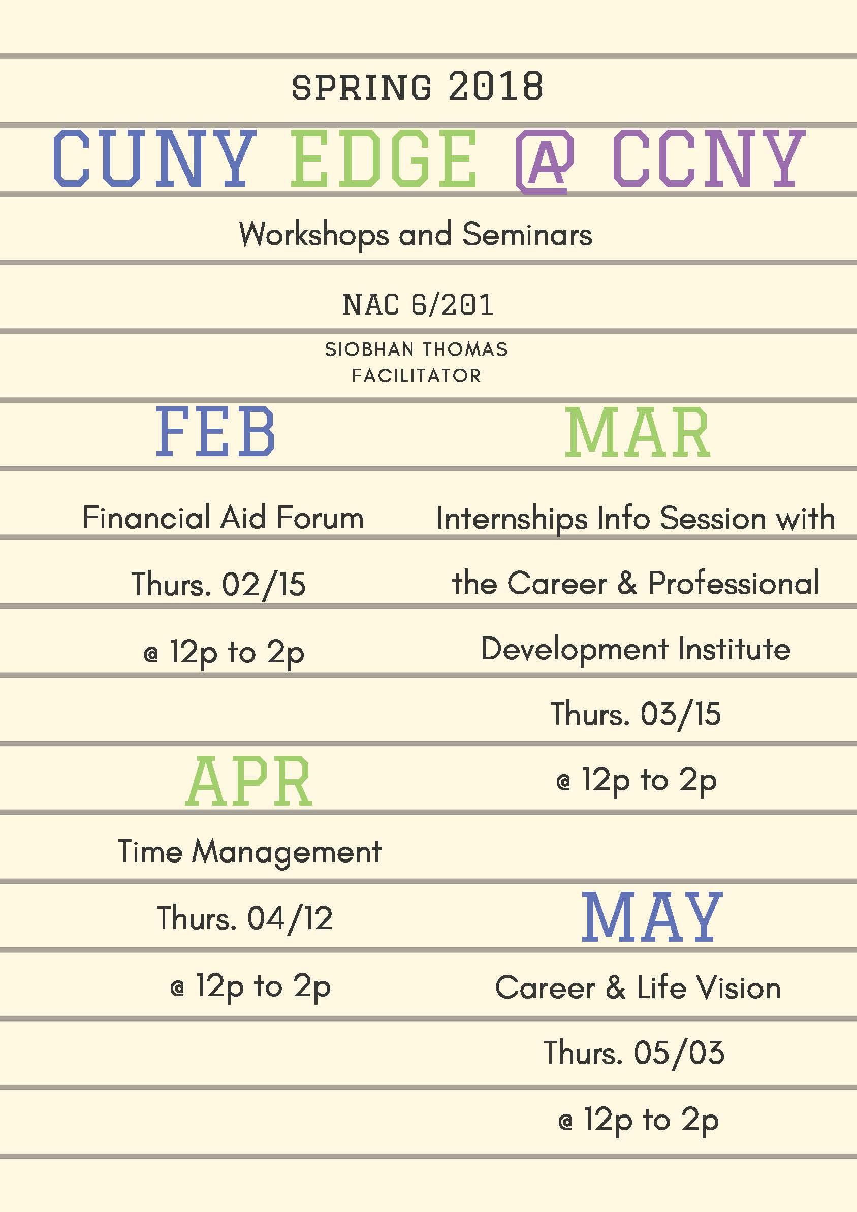 CUNY EDGE Workshops Spring 2018