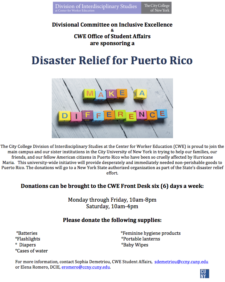 CWE Distaster Relief for Puerto Rico