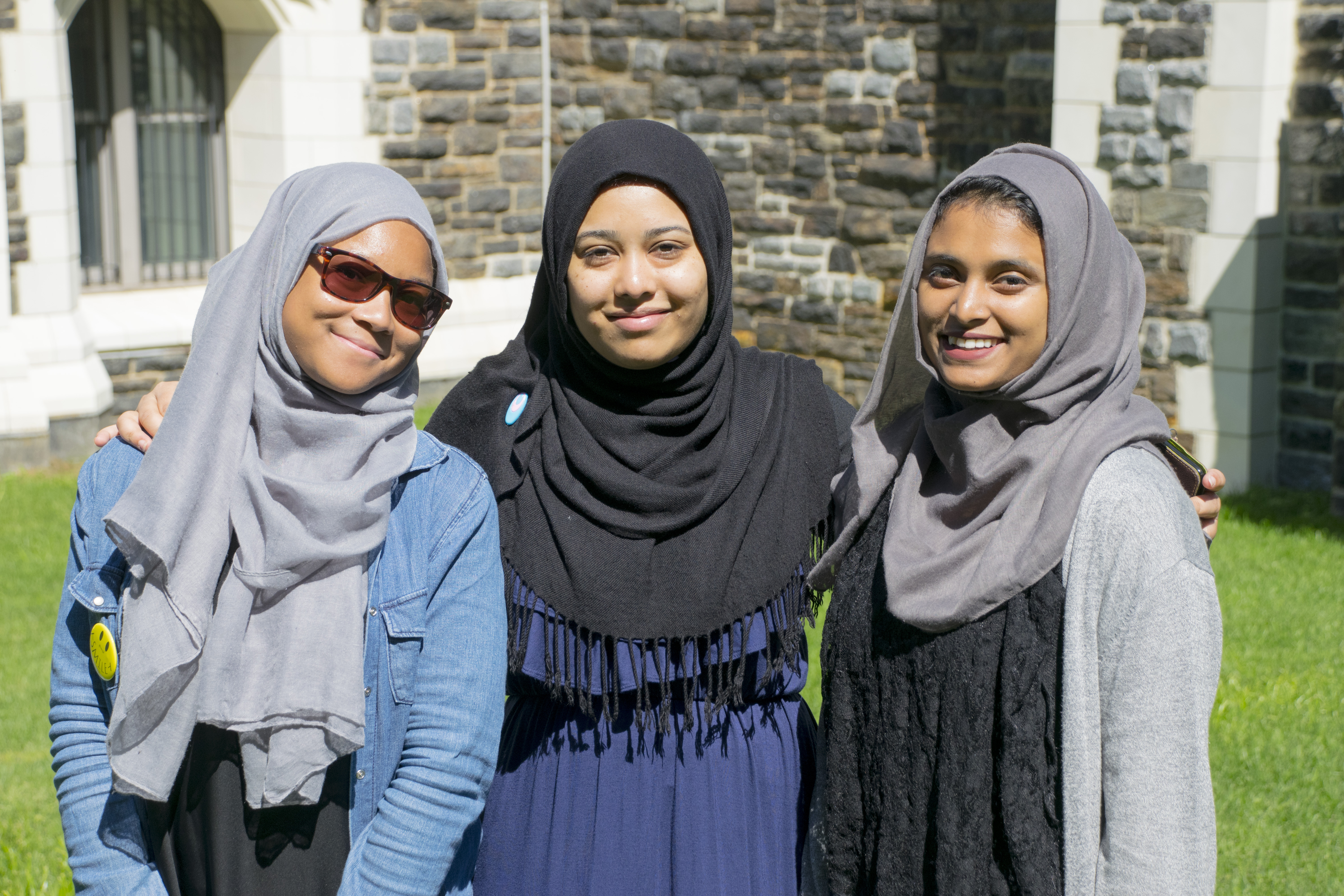 Three of the six CCNY students selected as Cultural Corps interns. From left: Maryam Hinson, Sabrina Yeasmin and Bushra Begum.