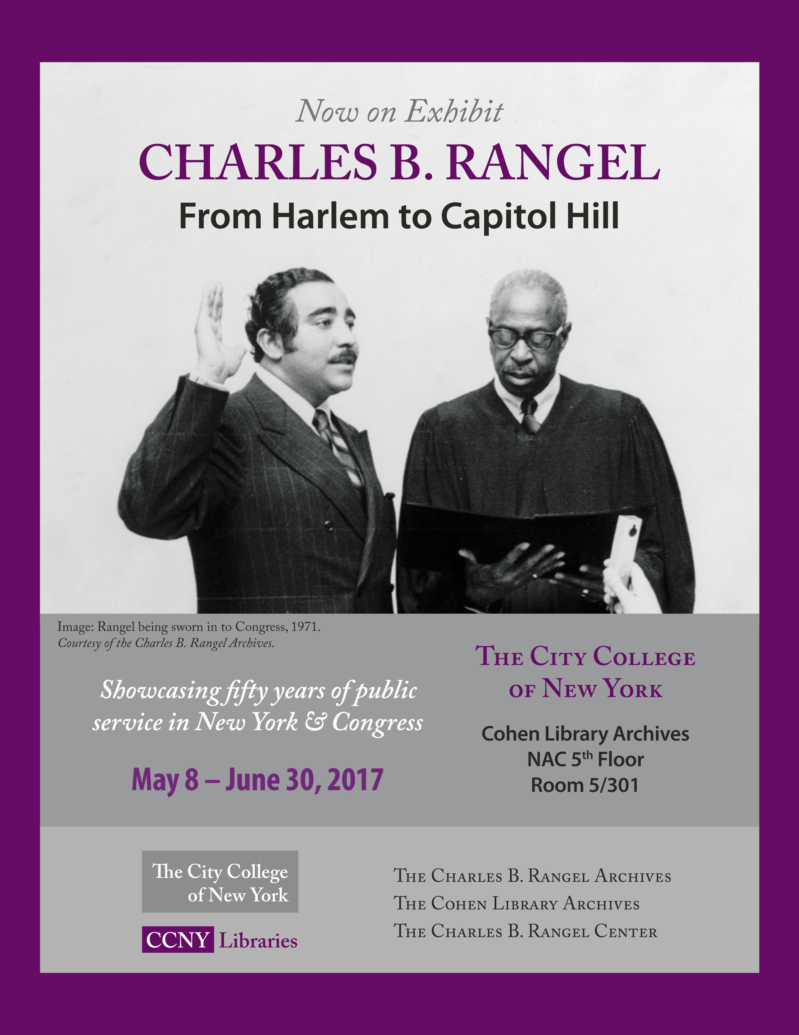 Promotional poster for the Charles B. Rangel exhibit