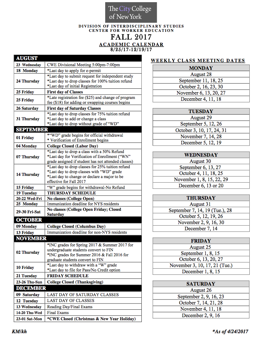 Academic Calendars | The City College of New York