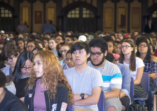 Students at CCNY's Freshman Convocation reflect the college's diversity.
