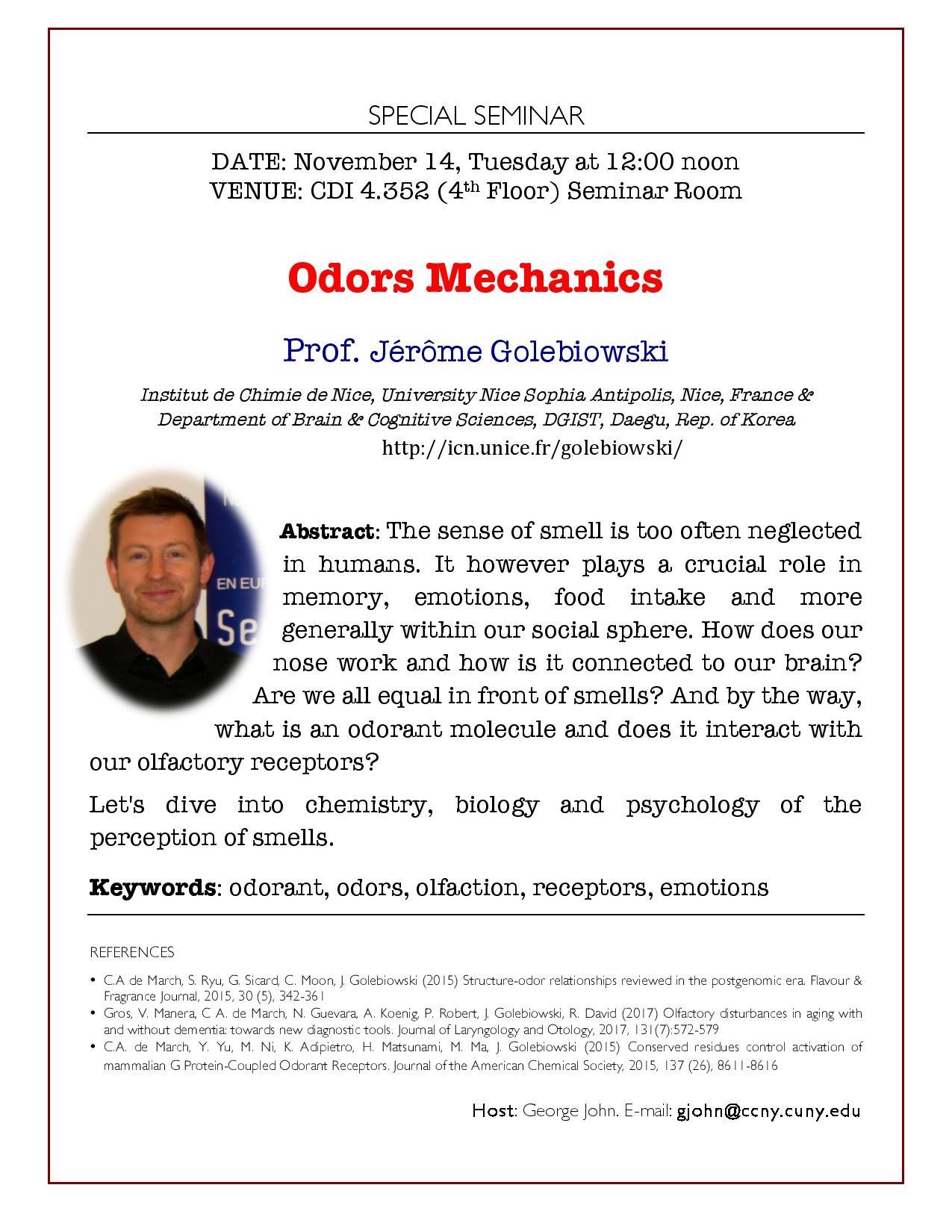 Poster to promote-Odors Mechanics Seminar - Prof. Jérôme Golebiowski, University Nice Sophia Antipolis, Nice, France