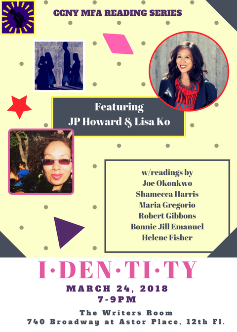 Flyer for Identity, featuring JP Howard and Lisa Ko