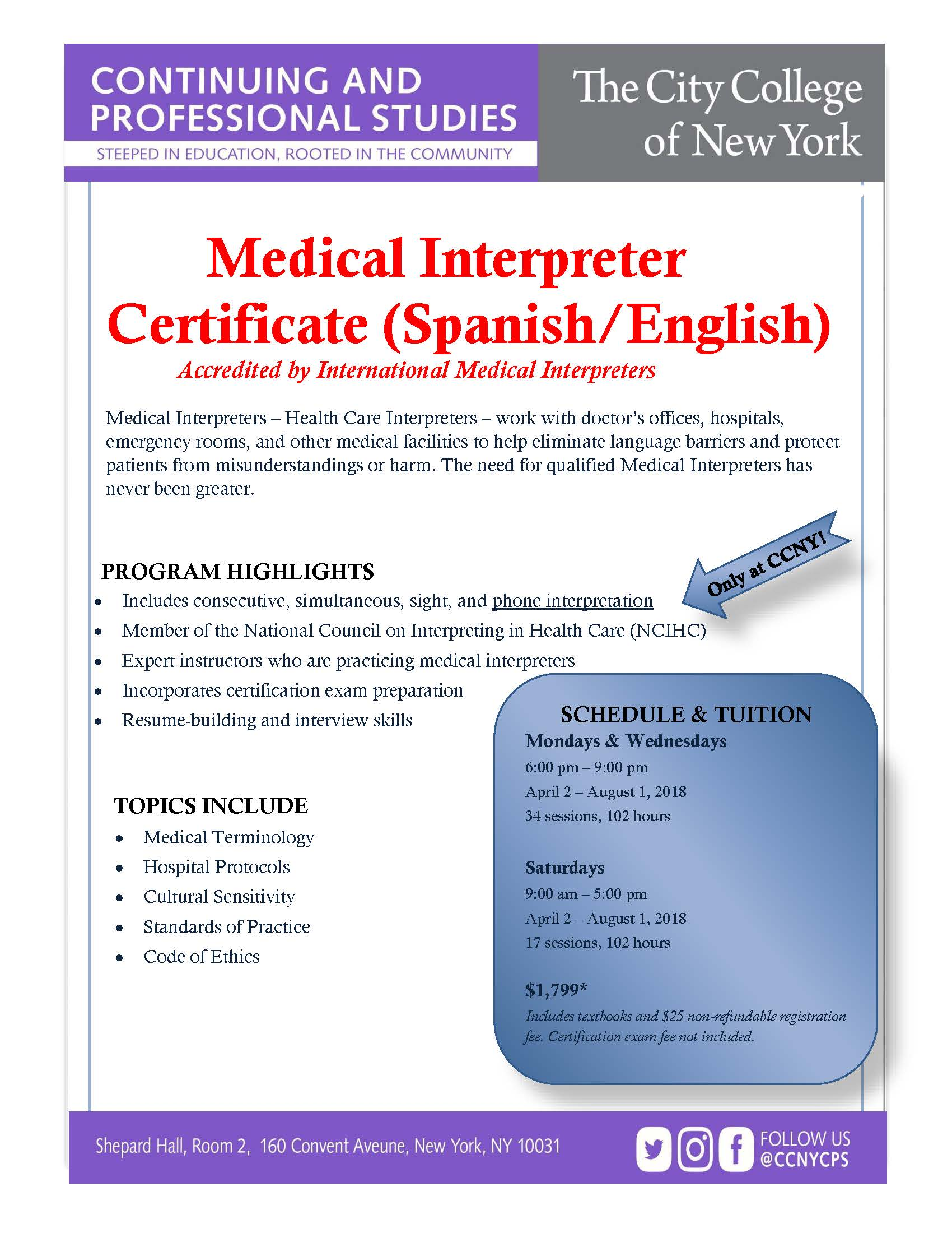 Awesome gallery of medical certification programs business cards medical interpreter certificate spanish english xflitez Choice Image