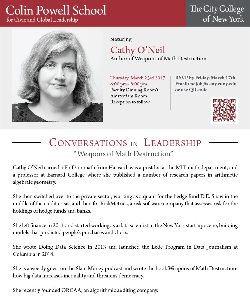 "Conversations in Leadership featuring Cathy O'Neil ""Weapons of Math Destruction"""