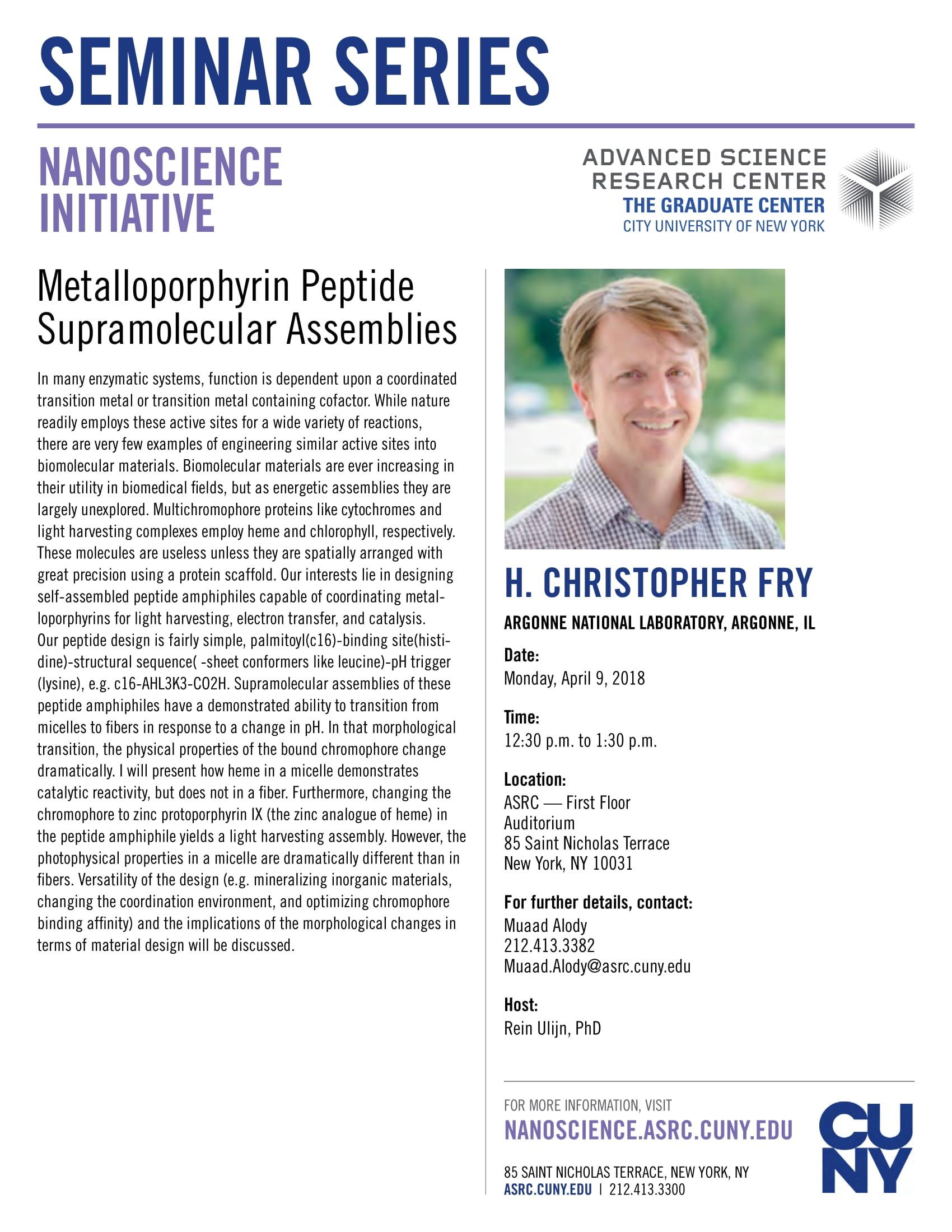 Salzberg Chemistry Seminar - H. Christopher Fry