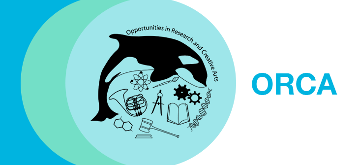 orca whale logo with science and engineering icons