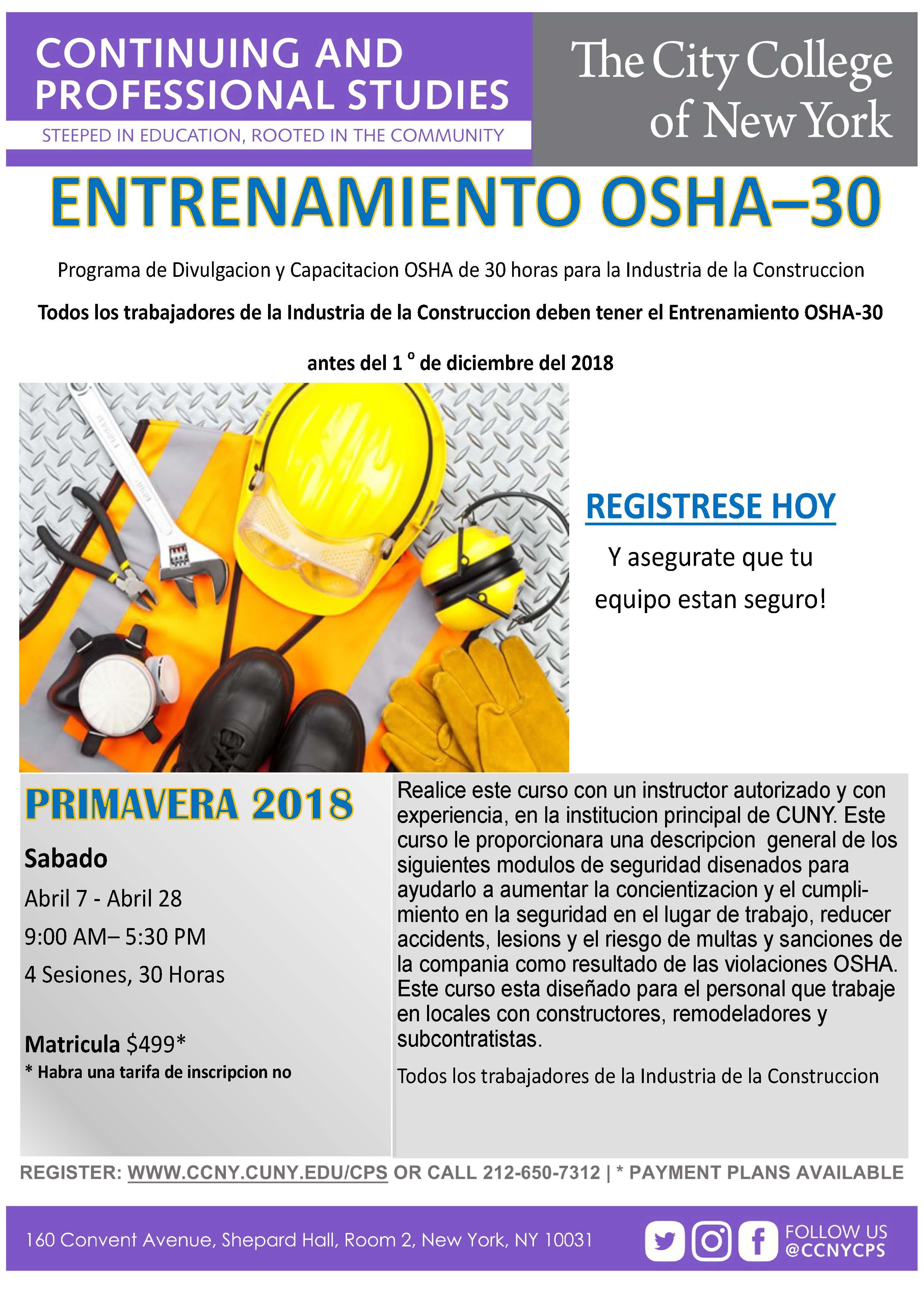 Osha 30 english and spanish the city college of new york osha 30 spanish flyer aprilg 1betcityfo Images