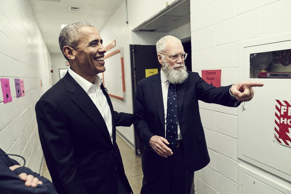 President Barack Obama and David Letterman at CCNY