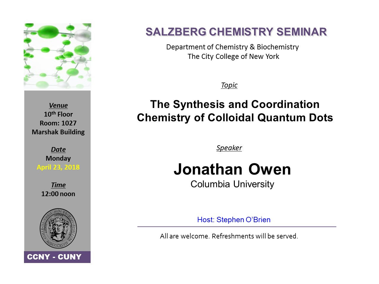Salzberg Chemistry Seminar - Owen