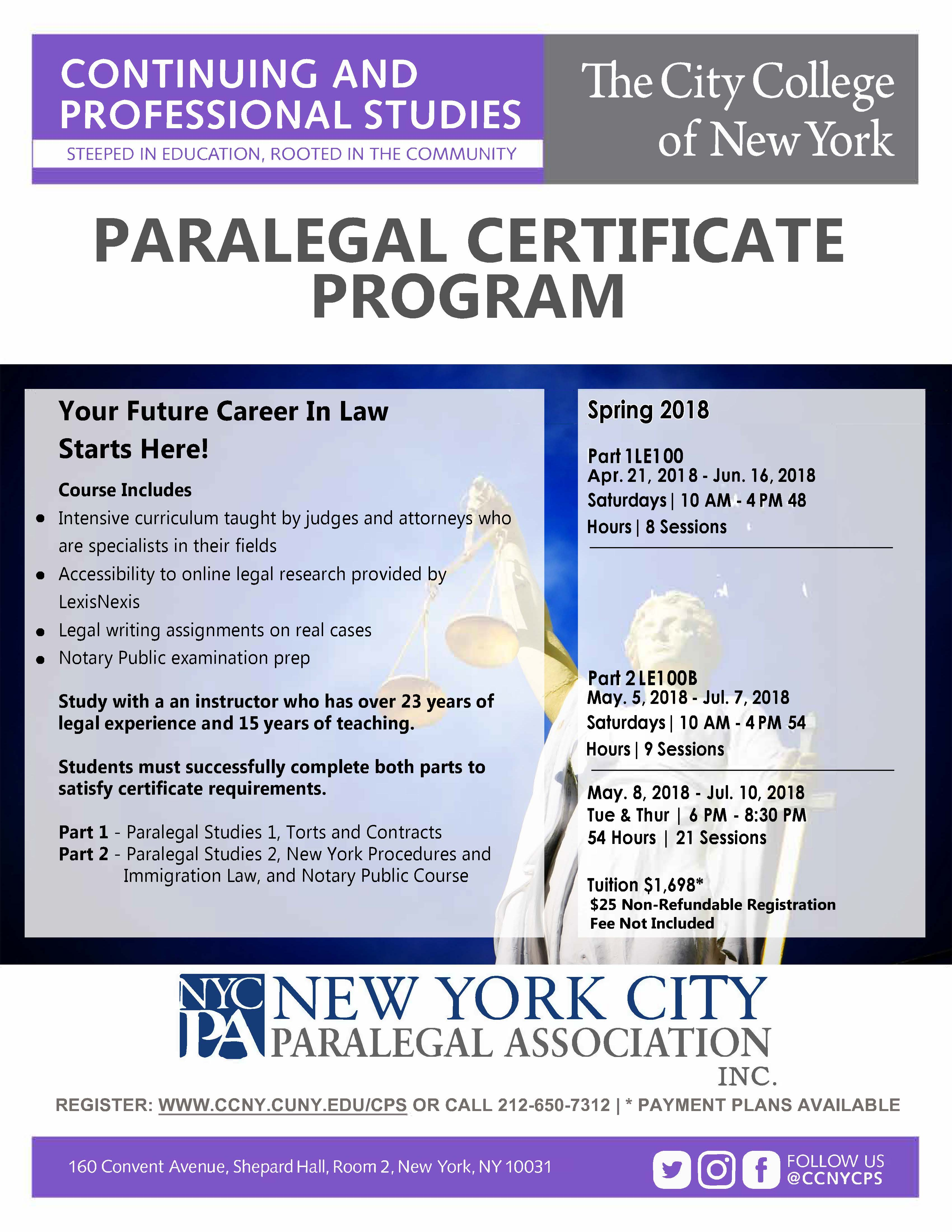 Paralegal studies certificate program the city college of new york paralegal studies certificate program student 2016 1betcityfo Image collections