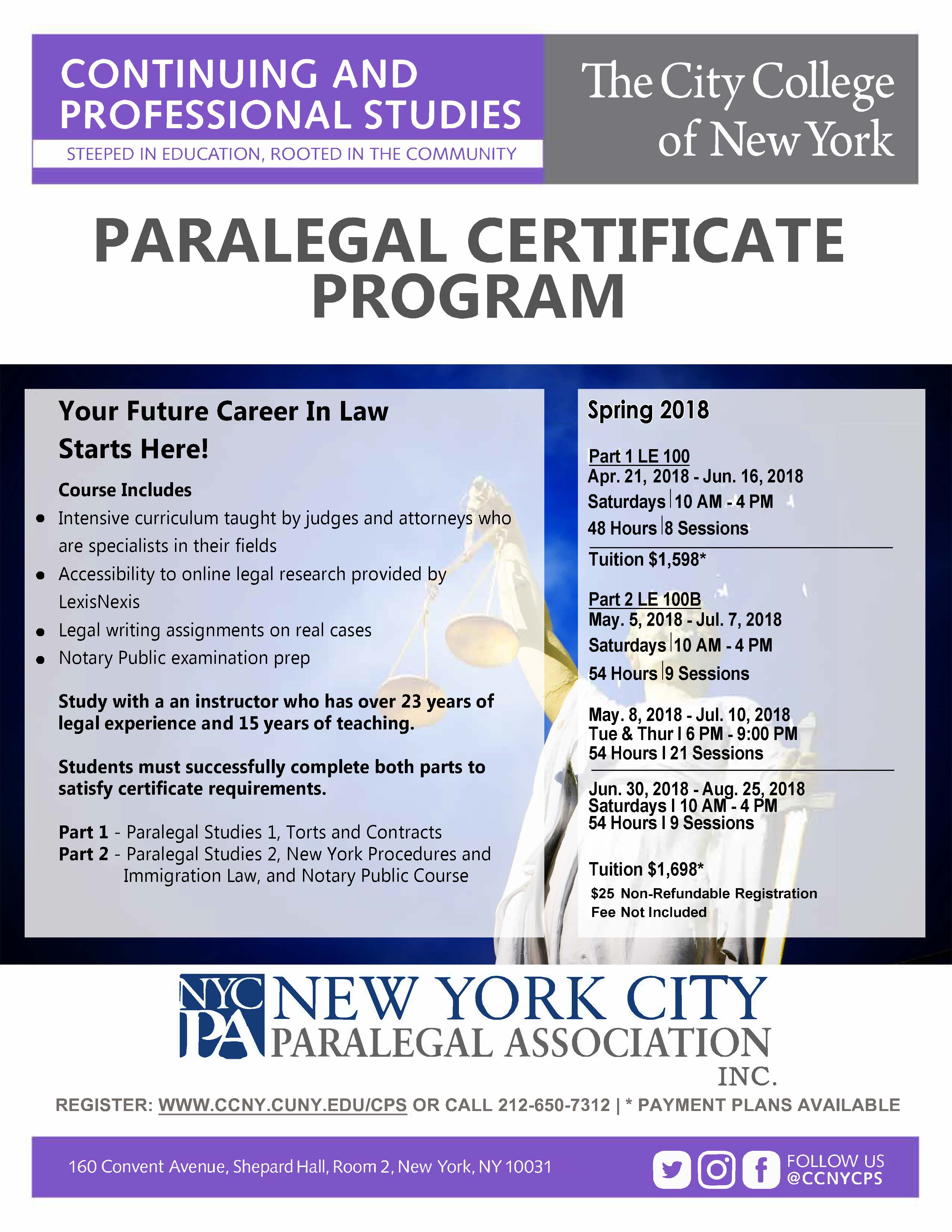 Paralegal studies certificate program the city college of new york paralegal studies certificate program student 2016 1betcityfo Choice Image