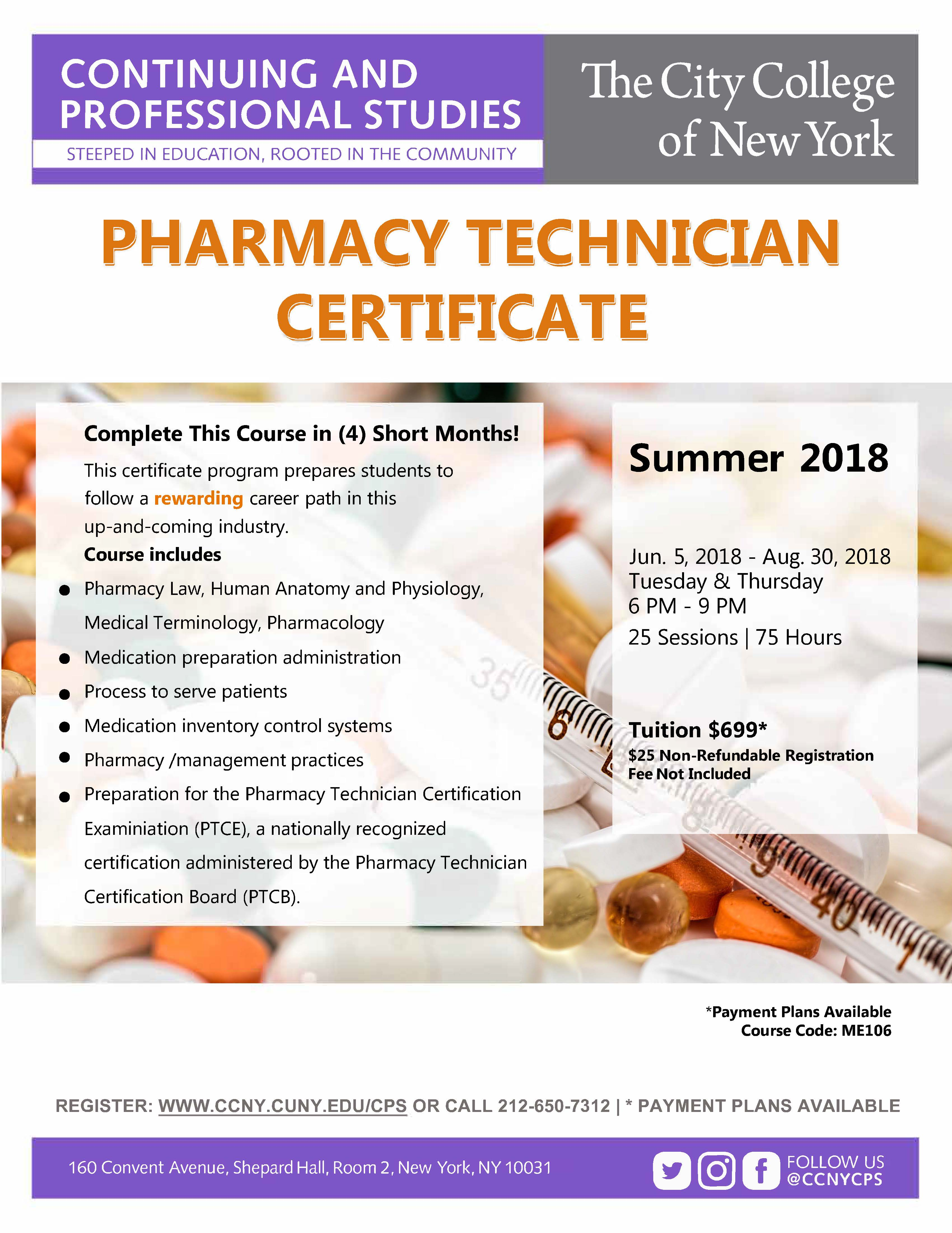 Pharmacy technician certification course the city college of new pharmacy technician certification course 1betcityfo Image collections