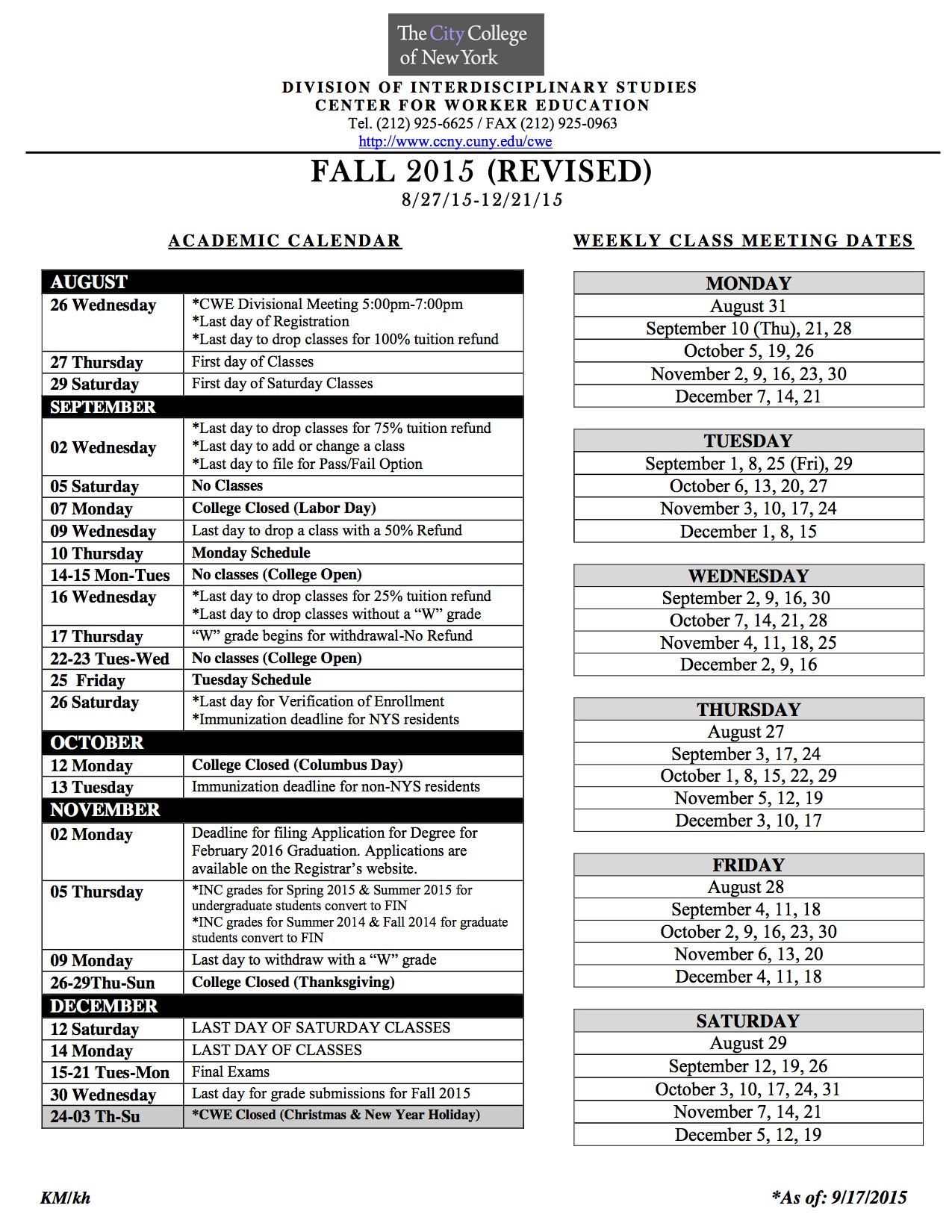 Academic Calendar The City College Of New York