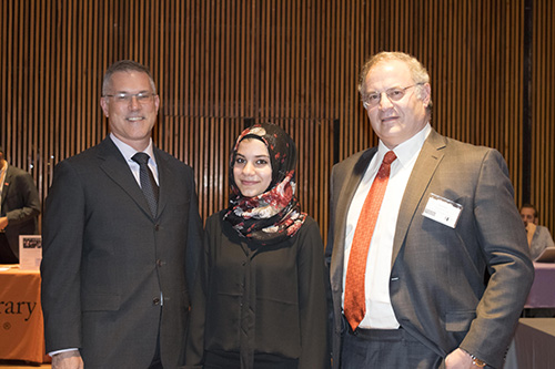 Interim President Vincent Boudreau, S Jay Levy Fellow Layana Abu Touq and David Levy