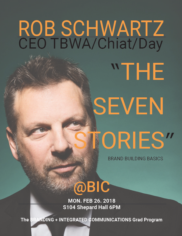 "@BIC Lecture Rob Schwartz ""The Seven Stories"" February 26, 2018 6pm"