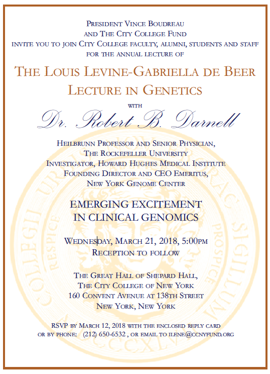 The Louis Levine - Gabriella de Beer Lecture in Genetics Invitation art work